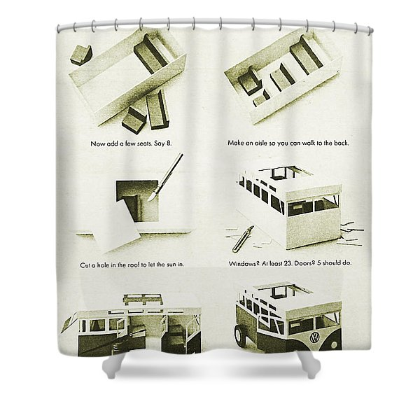 Vw Bus Vintage Advert Shower Curtain