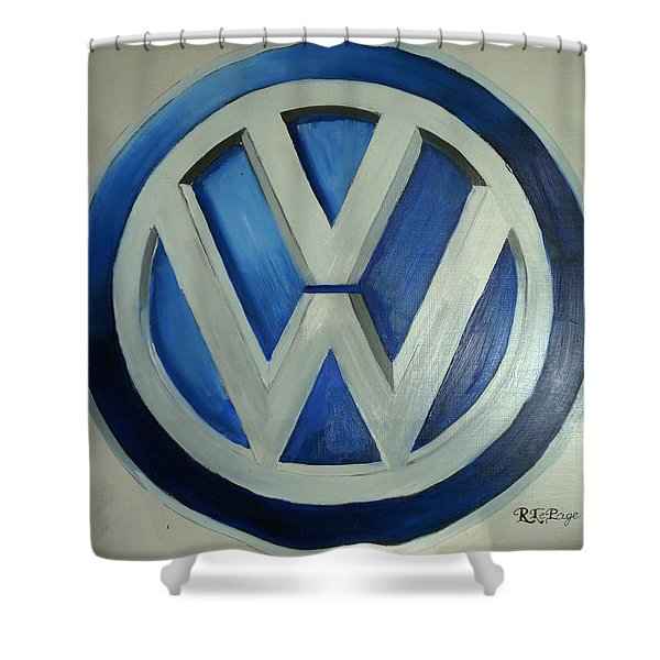 Vw Logo Blue Shower Curtain