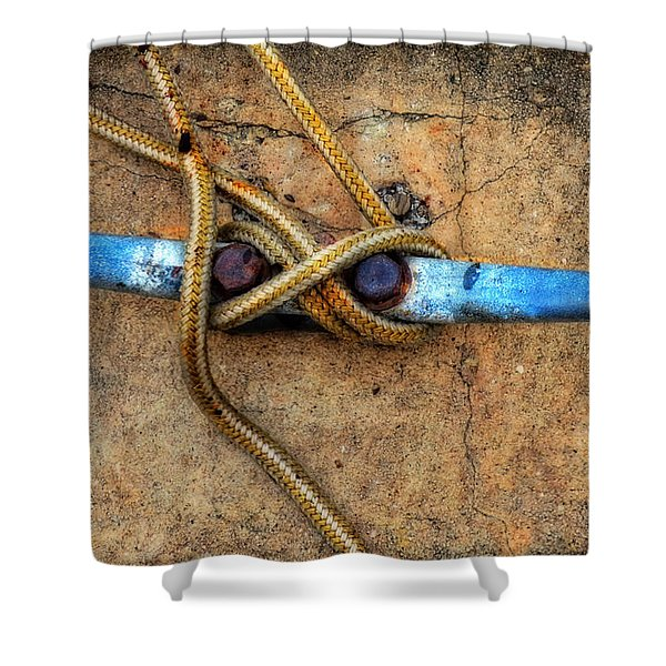 Waiting - Boat Tie Cleat By Sharon Cummings Shower Curtain