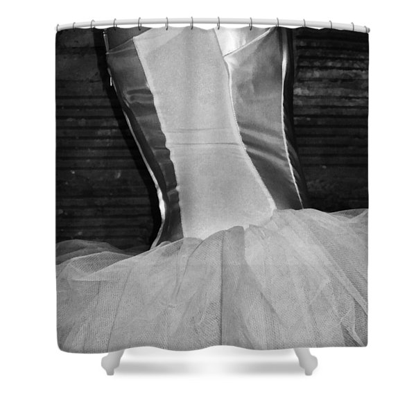 Waiting Her Turn Bw Shower Curtain