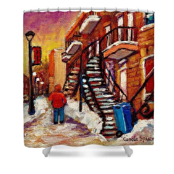 Walking Along Wellington Street Verdun Winter Painting Montreal City Scene By Carole Spandau Shower Curtain
