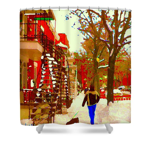Walking The Dog By The Deep Snow Covered Staircase Verdun City Scenes Montreal Carole Spandau Shower Curtain
