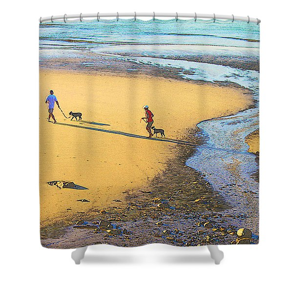 Walking The Dogs Shower Curtain