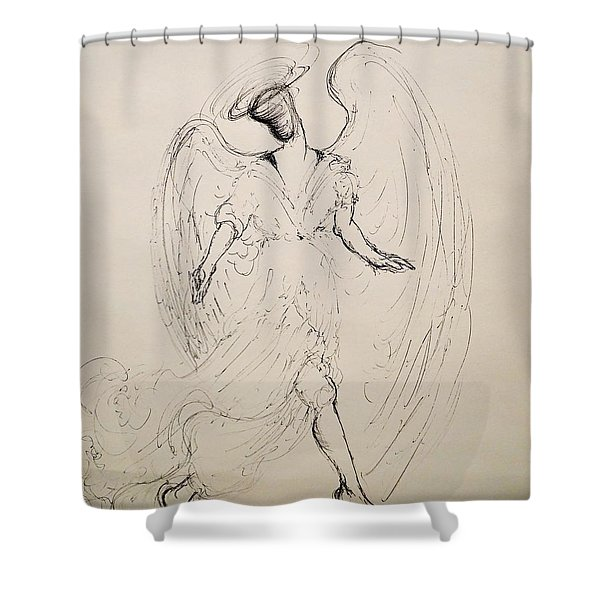 Walking With An Angel Shower Curtain
