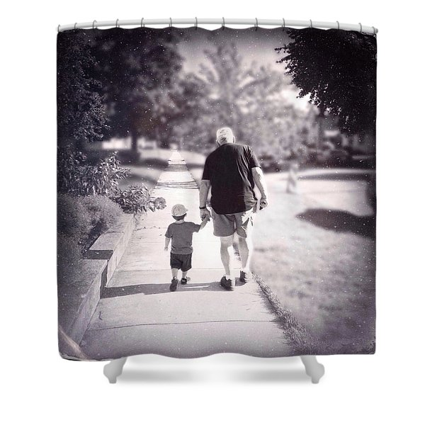 Walking With Grandpa Shower Curtain