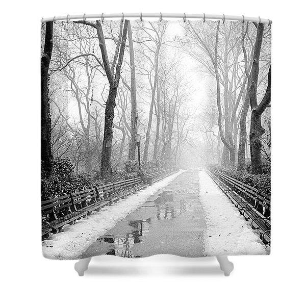 Walkway Snow And Fog Nyc Shower Curtain
