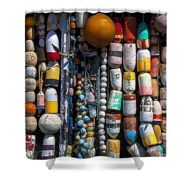 Wall Of Fishing Buoys Shower Curtain