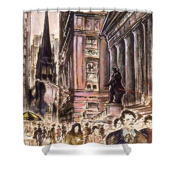 New York Wall Street - Fine Art Painting Shower Curtain