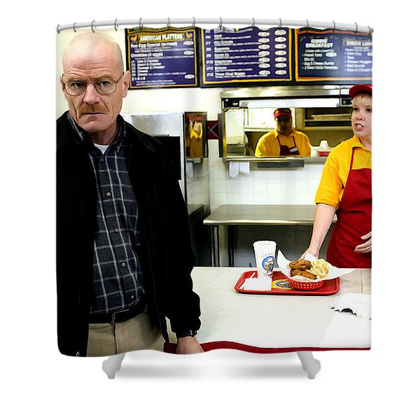 Walter White In Pollos Hermanos @ Breaking Bad Shower Curtain