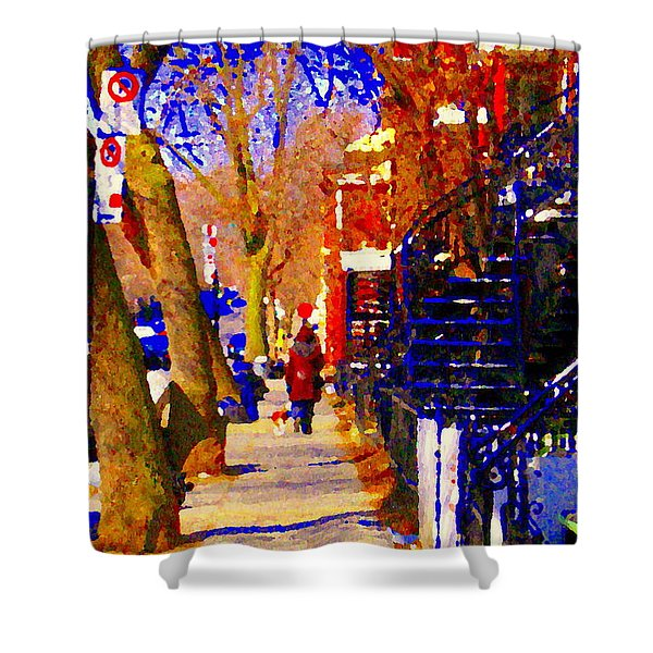 Warm Winter Walk With Little Dog Streets Of Montreal Blue Spiral Staircase Cityscene  Carole Spandau Shower Curtain