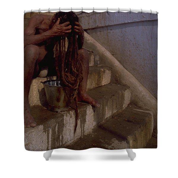 Varanasi Hair Wash Shower Curtain