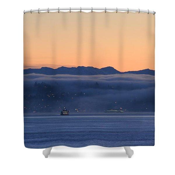 Washington State Ferries At Dawn Shower Curtain