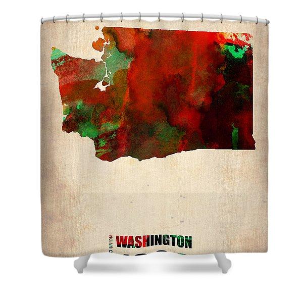 Washington Watercolor Map Shower Curtain