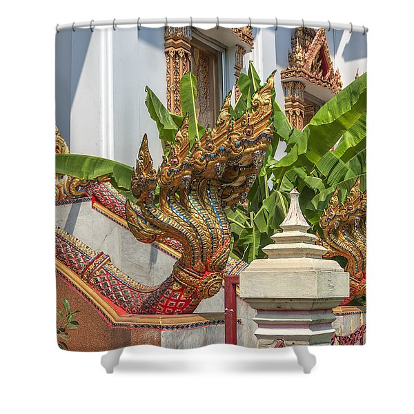 Wat Dokmai Phra Ubosot Stair Naga Dthb1783 Shower Curtain