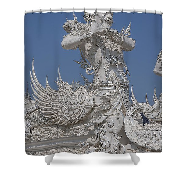 Wat Rong Khun Ubosot Causeway Guardian Dthcr0007 Shower Curtain