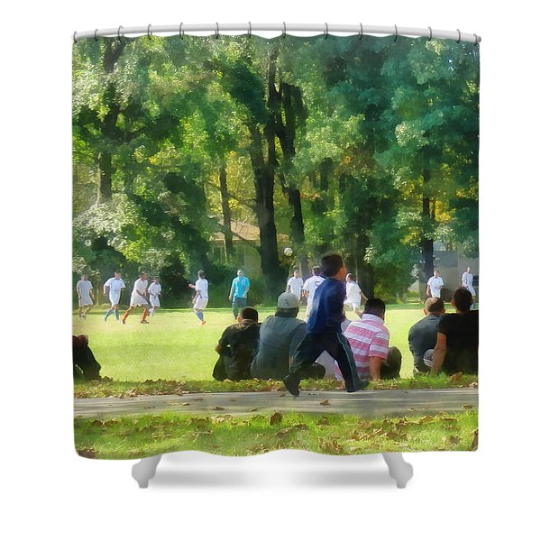 Watching The Soccer Game Shower Curtain