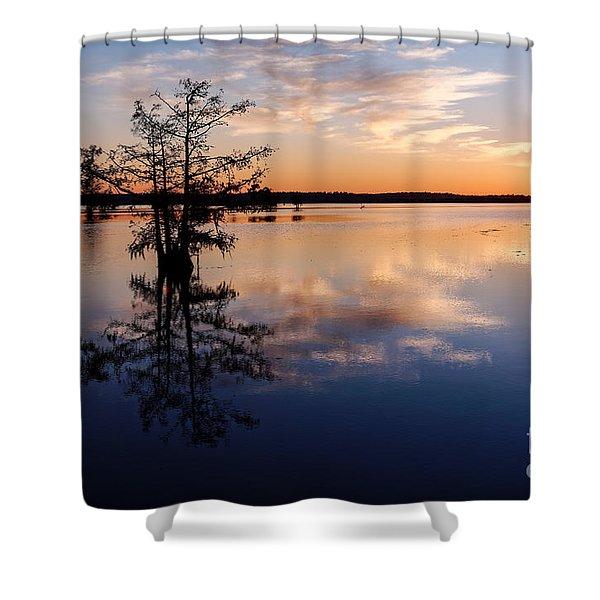 Watching The Sunset At Ba Steinhagen Lake Martin Dies Jr. State Park - Jasper East Texas Shower Curtain