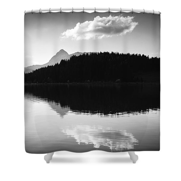 Water Reflection Black And White Shower Curtain