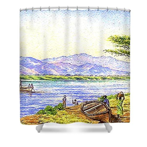 Water Village Shower Curtain