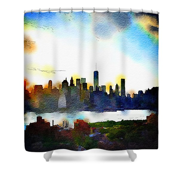 Watercolor Manhattan Shower Curtain