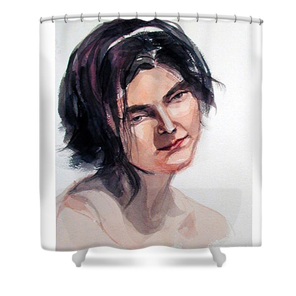 Watercolor Portrait Of A Young Pensive Woman With Headband Shower Curtain