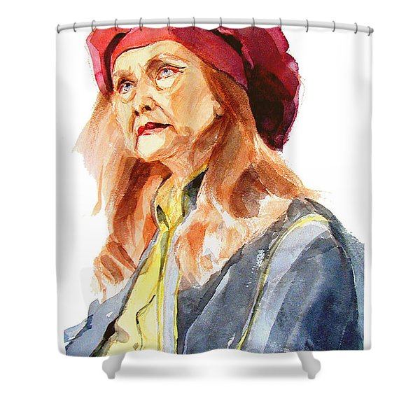 Watercolor Portrait Of An Old Lady Shower Curtain