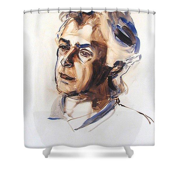 Watercolor Portrait Sketch Of A Man In Monochrome Shower Curtain