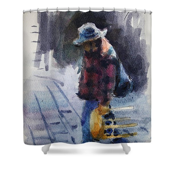 Watercolor Sketch Shower Curtain