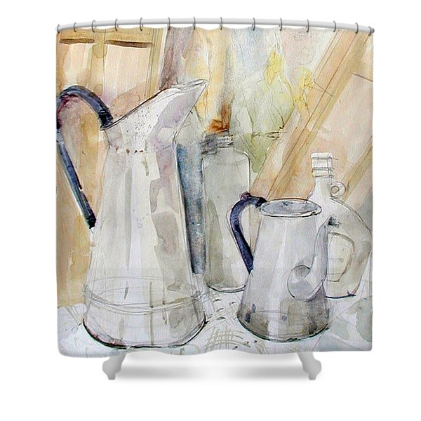 Watercolor Still Life Of White Cans Shower Curtain