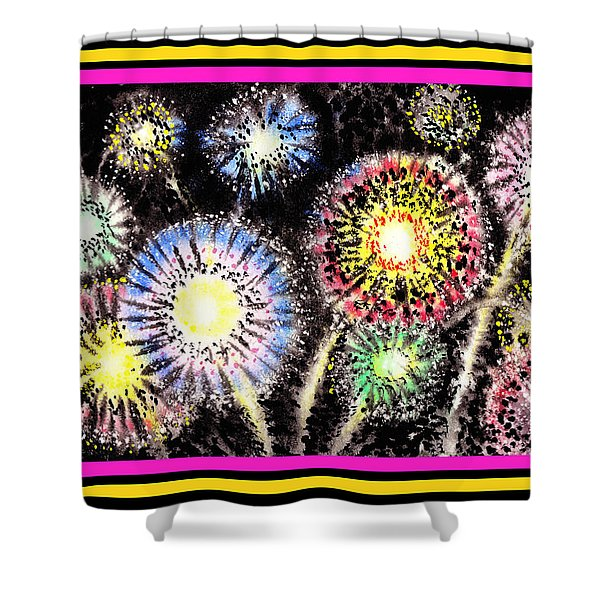 Watercolorful Fireworks Shower Curtain