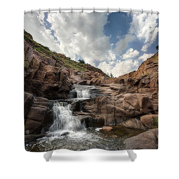 Waterfall At Forty Foot Hole In The Wichita Mountains Shower Curtain