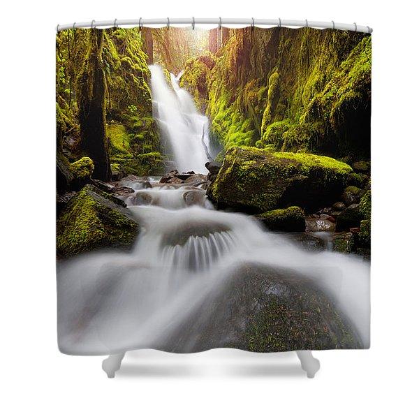 Waterfall Glow Shower Curtain