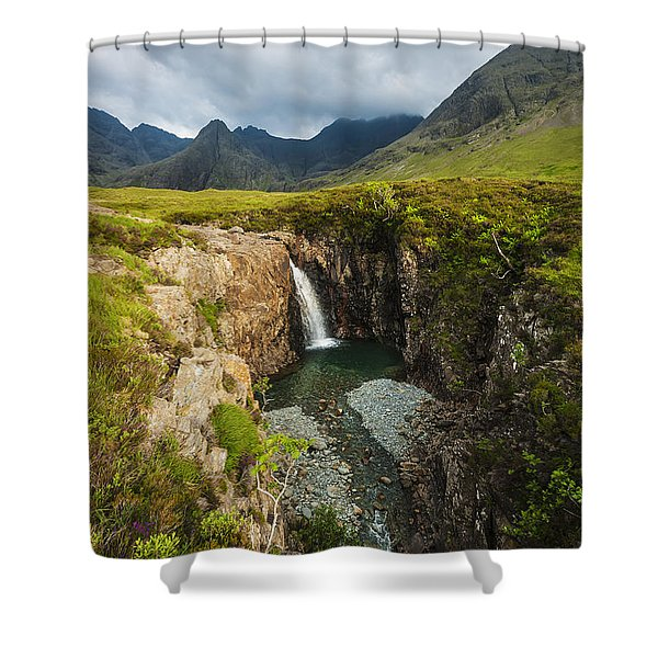 Waterfall In Coire Na Creiche The Fairy Shower Curtain