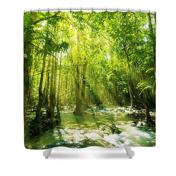 Waterfall In Rainforest Shower Curtain