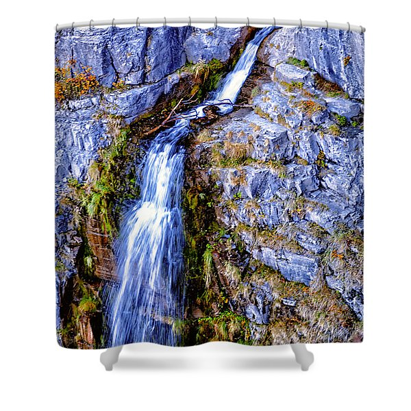 Shower Curtain featuring the photograph Waterfall-mt Timpanogos by David Millenheft