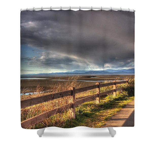 Shower Curtain featuring the photograph Waterfront Walkway by Randy Hall