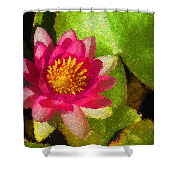 Waterlily Impression In Fuchsia And Pink Shower Curtain