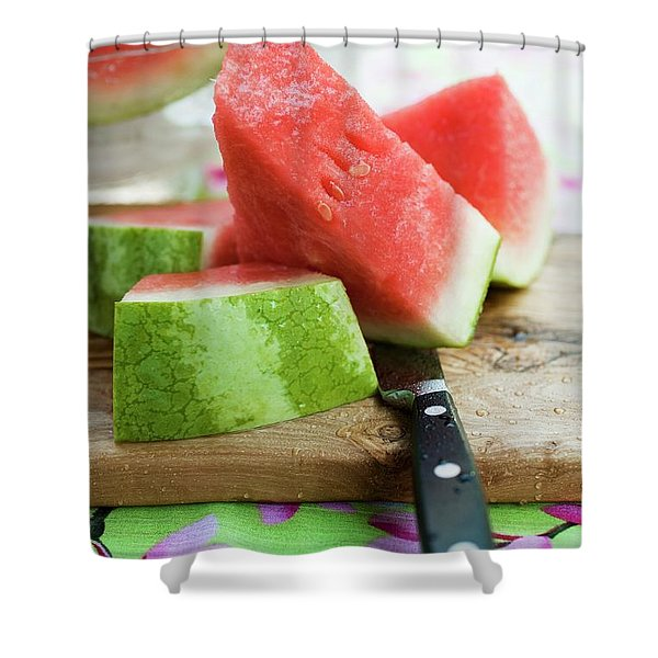 Watermelon, Cut Into Pieces, On A Wooden Board Shower Curtain