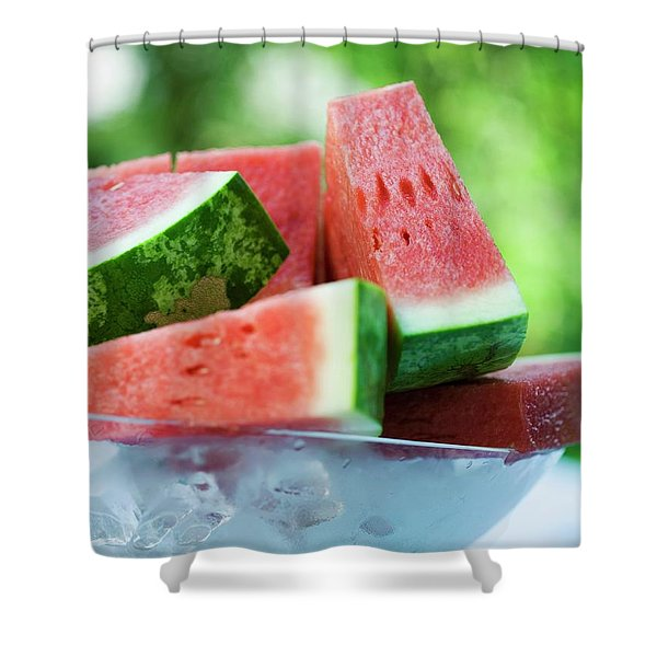 Watermelon Wedges In A Bowl Of Ice Cubes Shower Curtain