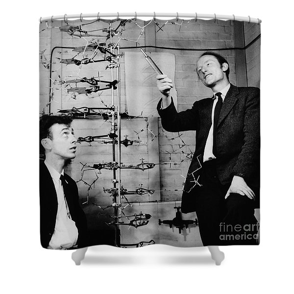 Watson And Crick With Dna Model Shower Curtain