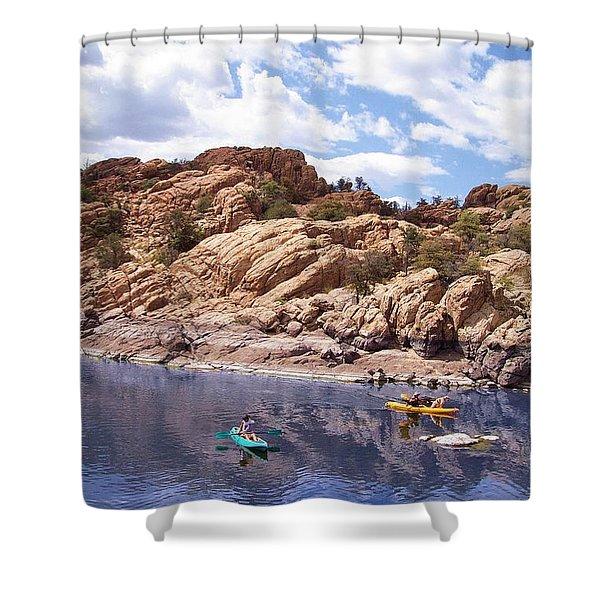 Watson Lake Kayaks Shower Curtain