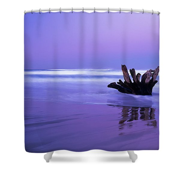 Waves Break On The Beach At Dawn Shower Curtain