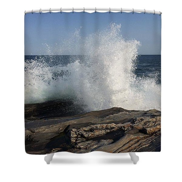 Waves Crashing On Rocky Maine Coast Shower Curtain