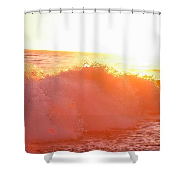 Waves In Sunset Shower Curtain