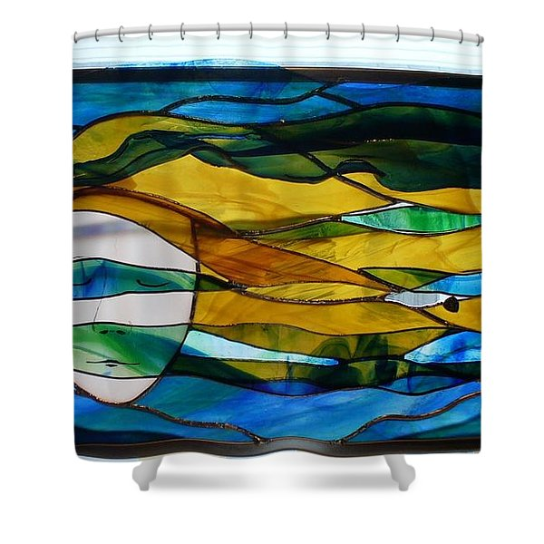 Shower Curtain featuring the glass art Waves Of His Mercy by Karin Thue