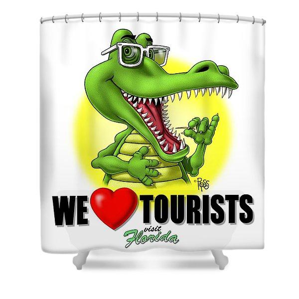 We Love Tourists Gator Shower Curtain