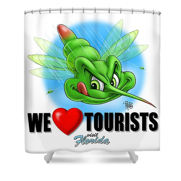 We Love Tourists Mosquito Shower Curtain