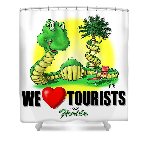 We Love Tourists Snake Shower Curtain