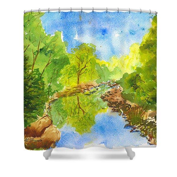 Weber River Reflection Shower Curtain