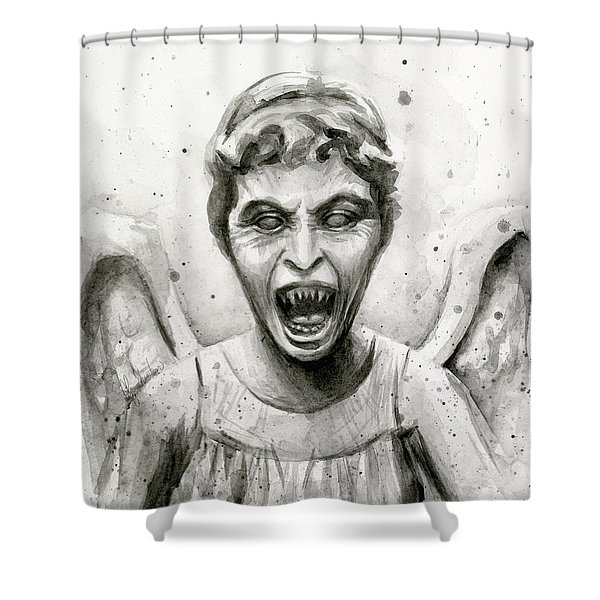 Weeping Angel Watercolor - Don't Blink Shower Curtain